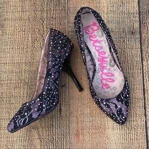 EUC Betseyville Sequin Lace Pumps Heels